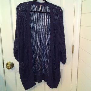 Free People Navy Blue Open Weave Sweater